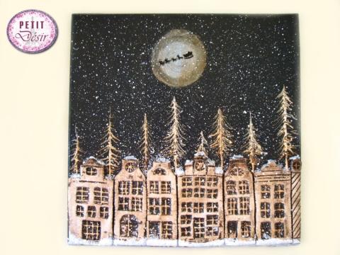 Πίνακας χριστουγεννιάτικος με πηλό