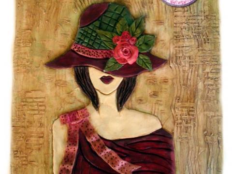 Πινάκας 35χ45 κοπέλα με καπέλο από πηλό