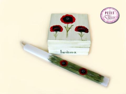 Σετ κουτί και λαμπάδα ζωγραφισμένα στο χέρι με παπαρούνες