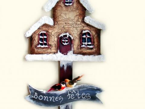 Ταμπέλα ξύλινη χριστουγεννιάτικο σπιτάκι με πηλό