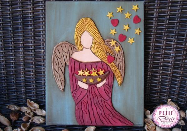 Πίνακας άγγελος με αστέρια και καρδιές από πηλό